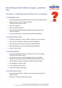 Monolog im Kopf 3 - Testfragen